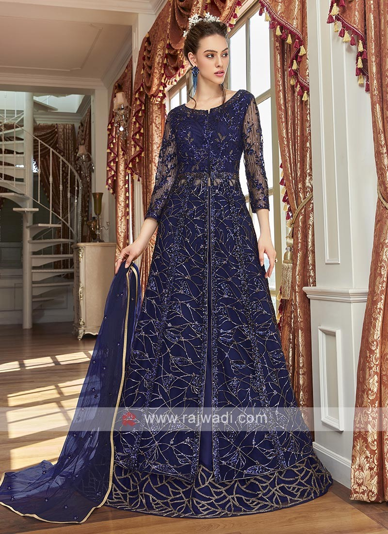 navy blue sequins embroidered salwar suit