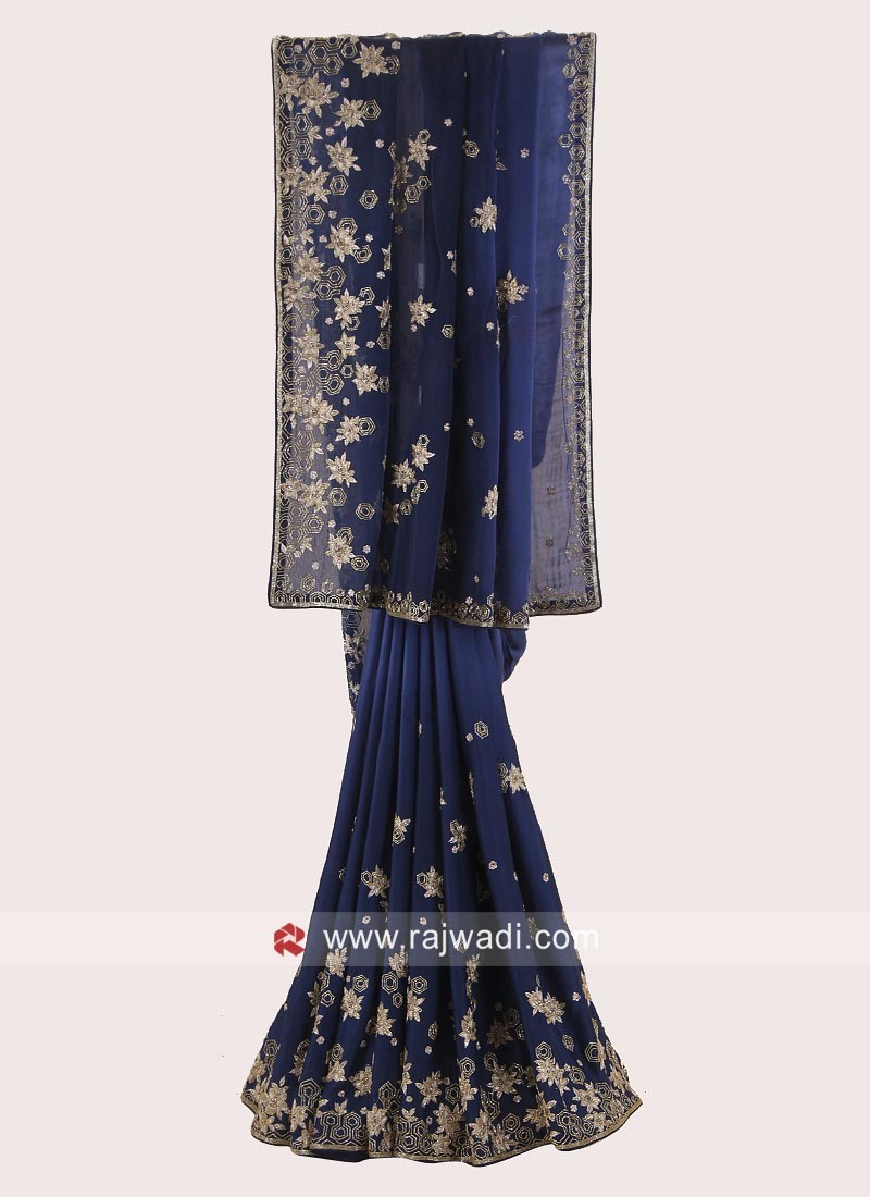 Navy Blue Shaded Embroidered Saree