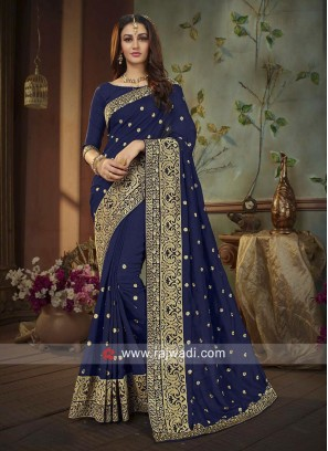 Navy Blue Silk Embroidered Saree