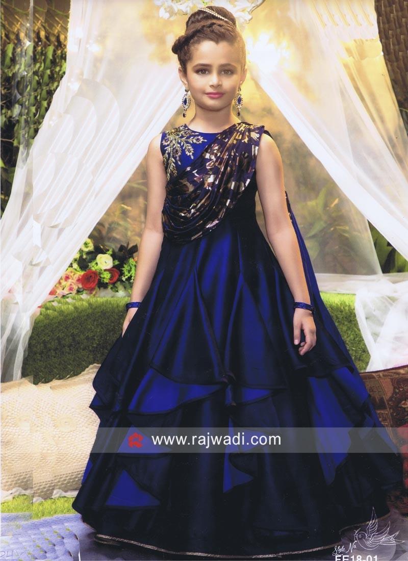 Navy Blue Silk Kids Gown