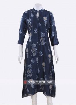 Navy Blue Silk Kurti