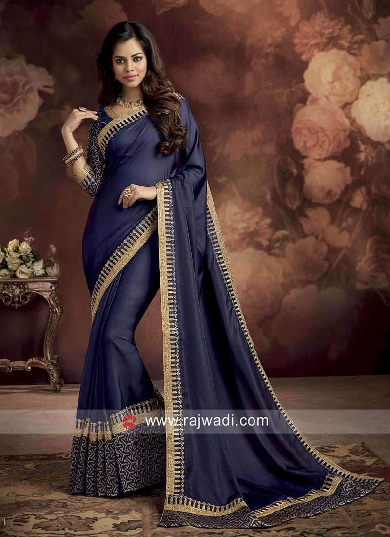 Navy Blue Silk Saree