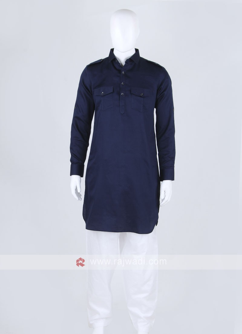 Navy blue Solid Pathani Suit