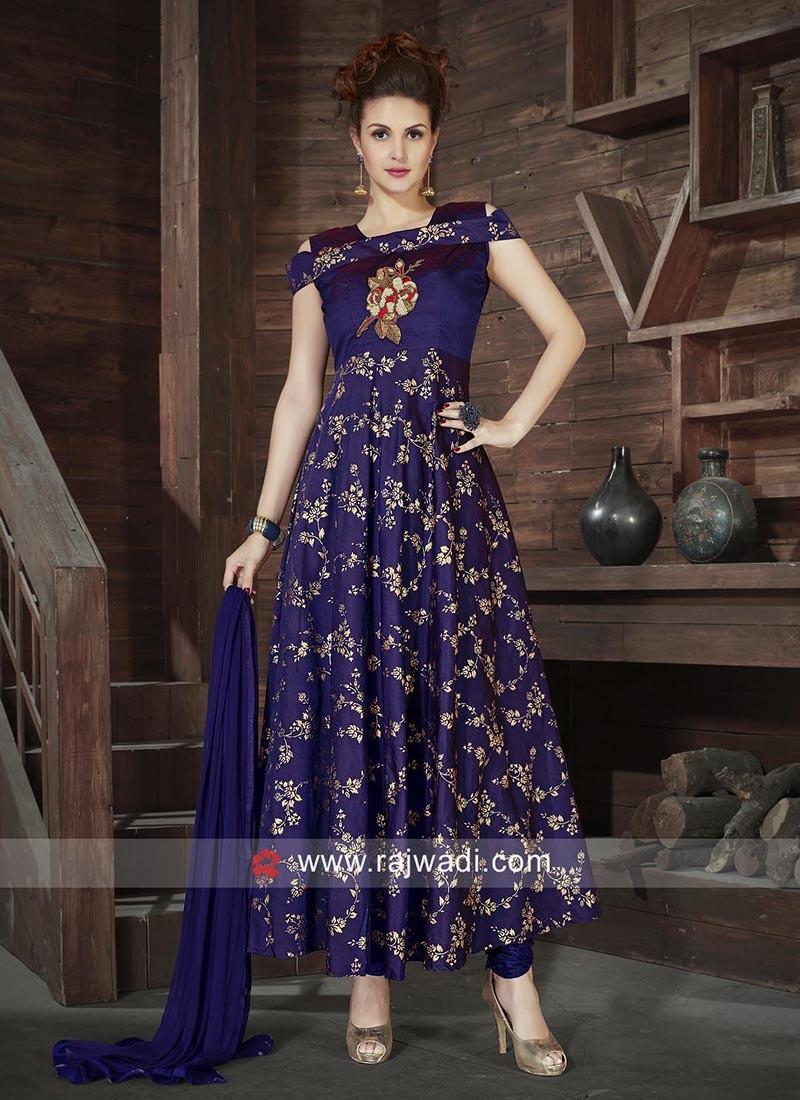 Navy Blue Stitched Anarkali Dress