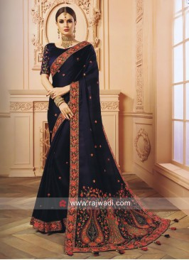 Navy Blue Stone Work Saree