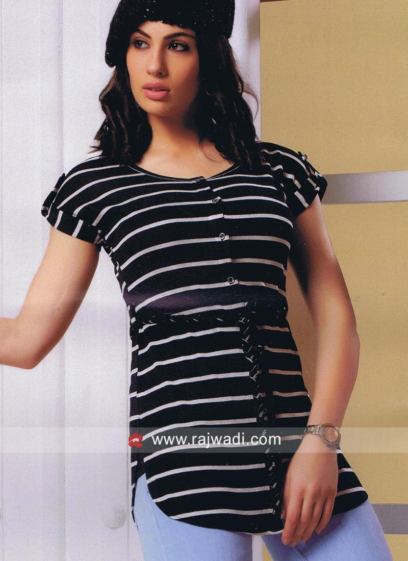 Navy Blue Stripes Top with Inner