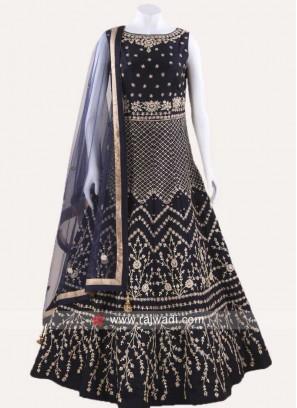 Navy Blue Taffeta Silk Anarkali Suit