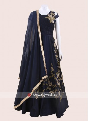 Navy Blue Taffeta Silk Anarkali Suit