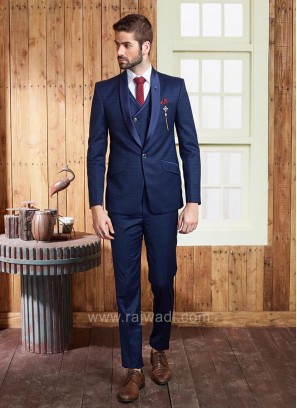 Navy Blue Terry Rayon Suit