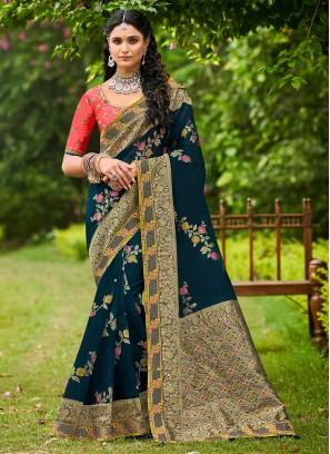 Navy Blue Tissue Festival Designer Traditional Saree