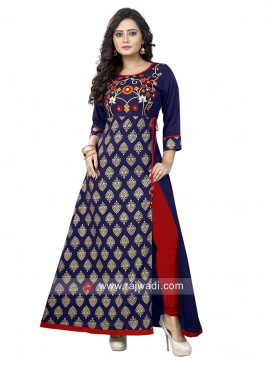 Navy Blue Traditional Long Kurti