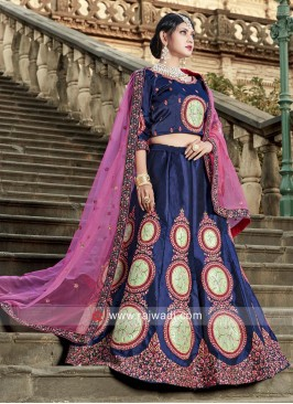 Navy Blue Unstitched Lehenga Set