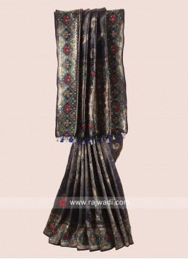 Navy Blue Uppada Silk Wedding Saree