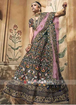 Navy Blue Velvet Lehenga with Light Pink Dupatta