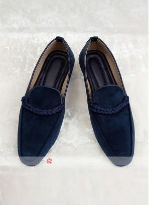 Navy Blue Velvet Mojari