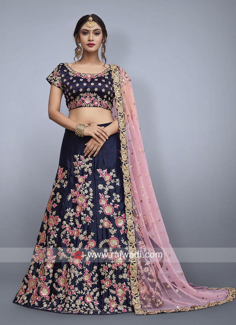 ea468e0188 Navy Blue Wedding Lehenga Set. Hover to zoom