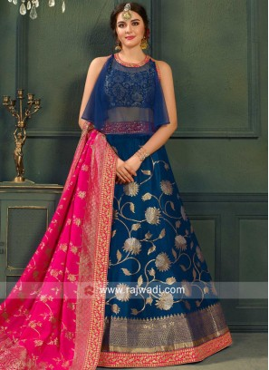 Navy Blue Zari Weaved Lehenga Choli