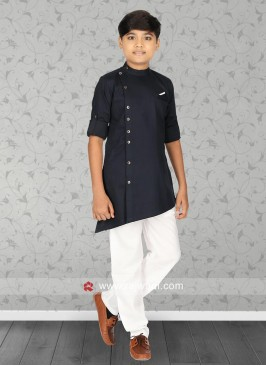 Navy Color Cotton Silk Pathani