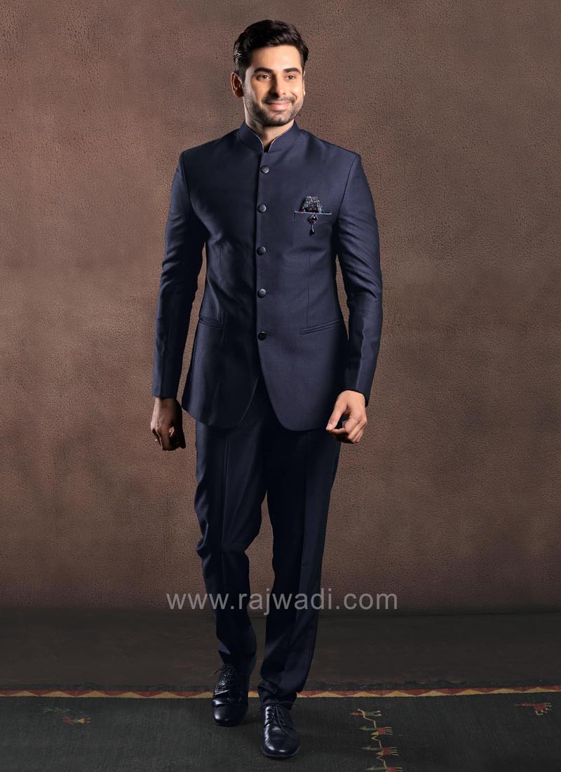 Navy Color Imported Fabric Jodhpuri Suit