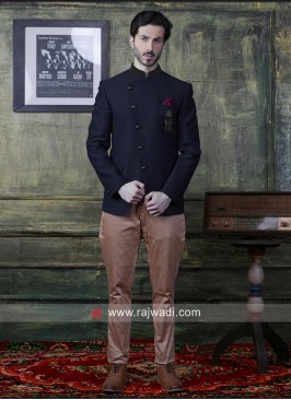 Imported Fabric Navy Jodhpuri Suit