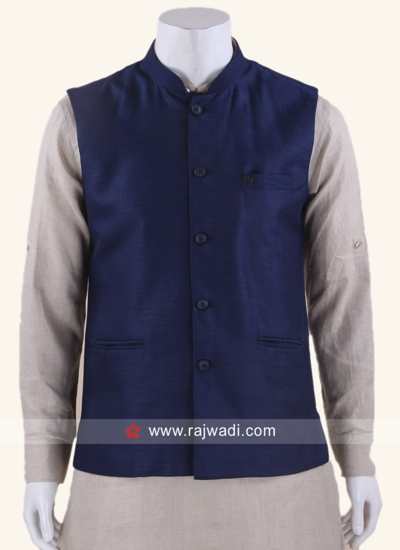 Navy Color Koti With Fancy Buttons