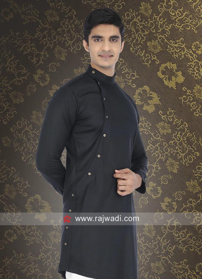 Black Cotton Fabric Mens Kurta