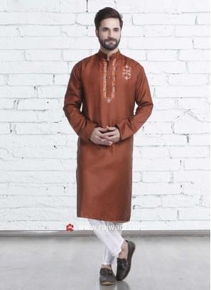 Brown Color Kurta Pajama For Mens
