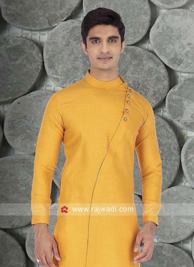 Mustard Yellow Color Kurta For Mens