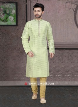 Pista Green Color Kurta Pajama For Mens
