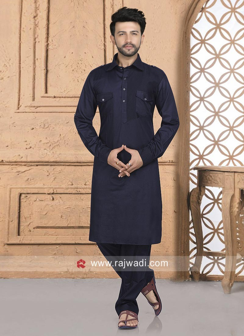 Navy Color Pathani Set For Party