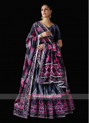 Navy Color Patola Print Unstitched Lehenga Choli