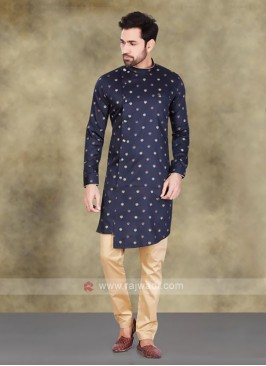 Navy Color Polka Dots Men's Printed Kurta