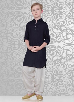Navy Color Voile Fabric Pathani Suit