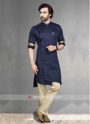 Navy & Cream Kurta Pajama For Men
