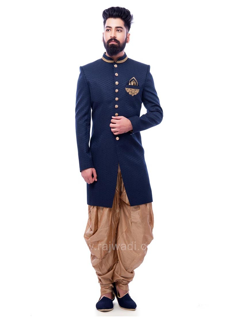 Navy Emboss Fabric Indo Western