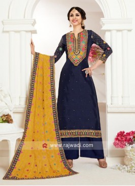 Navy Embroidered Palazzo Suit