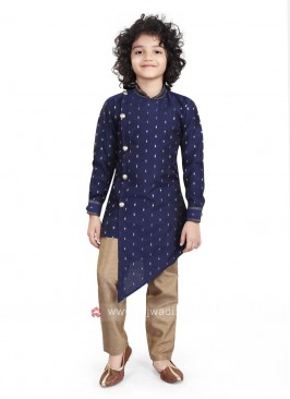 Navy & Golden Color Kurta Pajama