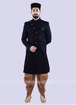 Navy & Golden Indo Western For Men