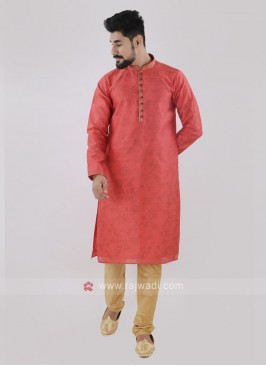 Peach & Golden Kurta Pajama