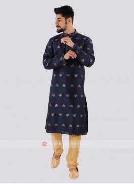 Navy & Golden Kurta Pajama