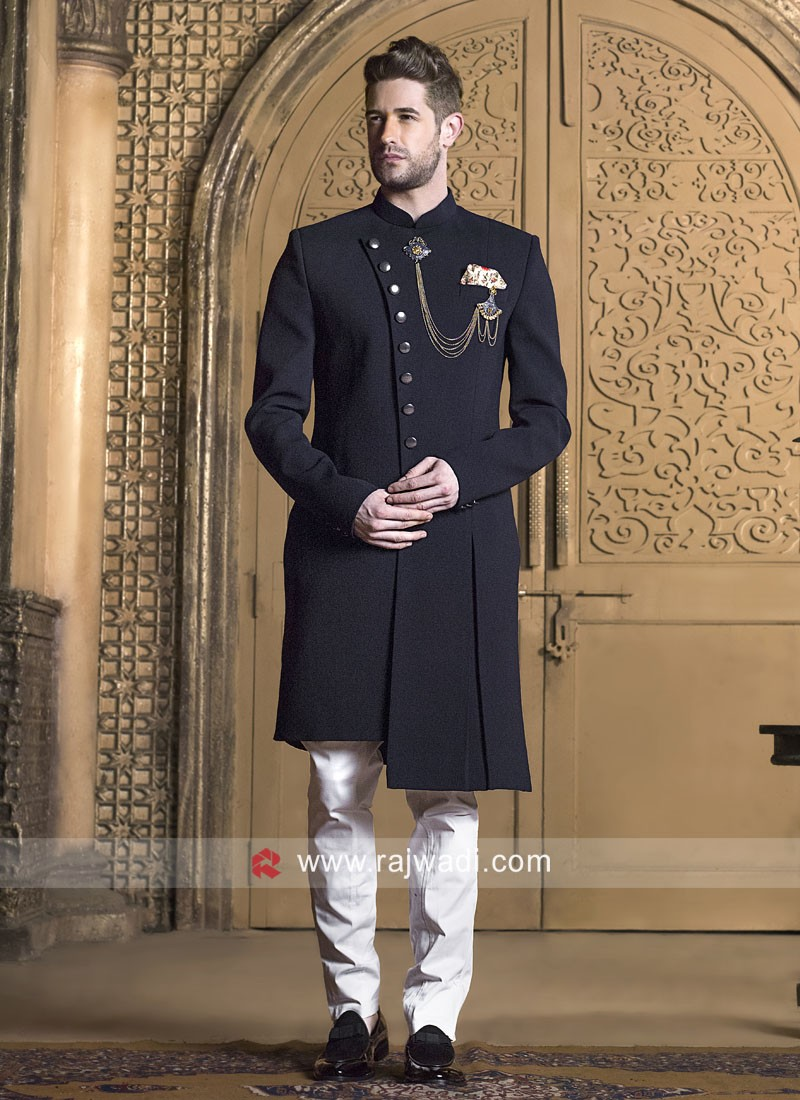 Navy Imported Fabric Indo Western