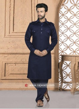 Navy Pathani Set For Eid