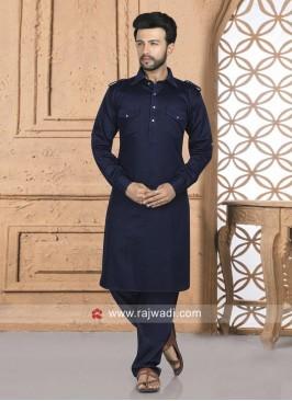 Navy Pathani Set For Eid