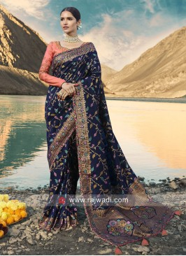 Navy Saree with Peach Blouse