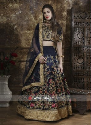 Navy Satin silk Lehenga Set