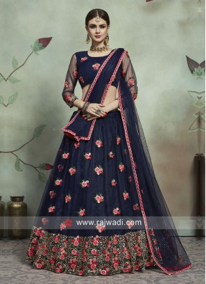Navy Thread Work Lehenga Set