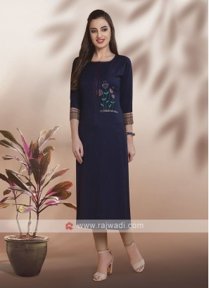 Navy Thread work Straight Kurti