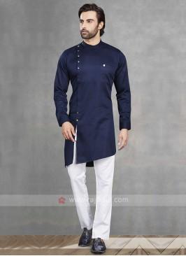 Navy & White Kurta Pajama For Men