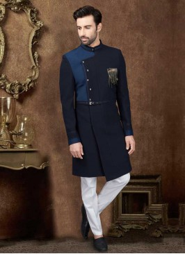 Nawabi Style Indo-Western In Navy Blue Color