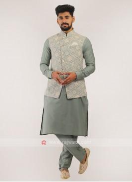 Nehru Jacket Suit In Grey